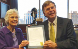 "Eugénie Rocherolle with the mayor of Huntsville, Tommy Battle, who proclaimed Feb. 26, 2016 ""Eugénie Rocherolle Day."""