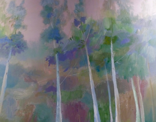 """Swedish Birches,"" acrylic painting by art member Grace Le Vander"