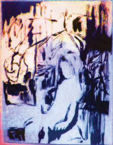 "The original work, ""In Her Room"" (ink, monotype, photo, and digital), by Maria Keanne that she cropped to use for the cover of her new book."