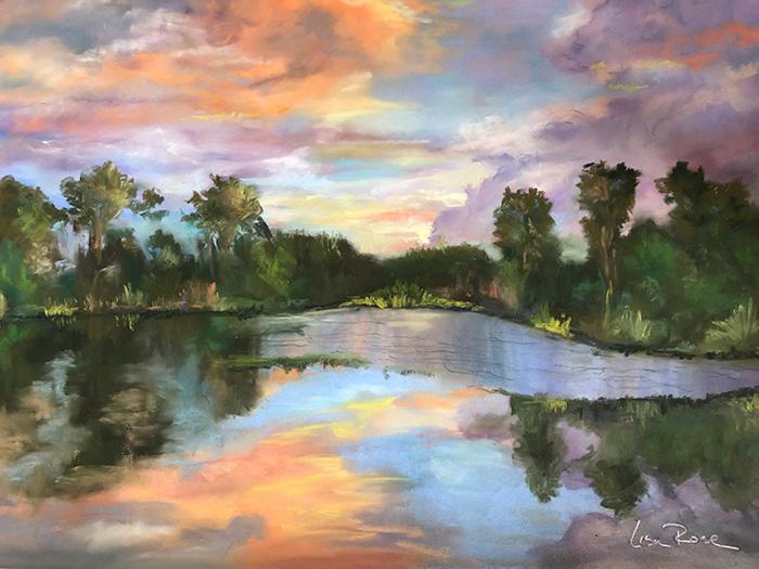 """Backyard Sunset"" painting by Lisa Rose"